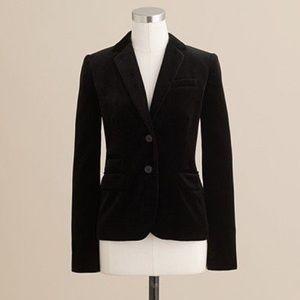 J Crew Schoolboy blazer in black velvet